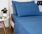 Luxury Living Queen Bed Flannelette Sheet Set - Royal Blue 1