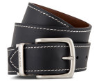 Tommy Hilfiger Men's Reversible Contrast Stitching Leather Belt - Black/Brown 1