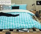 Ardor Banyan Reversible King Bed Quilt Cover Set - Teal 1