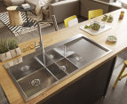fluso 100x50cm Double Bowl Kitchen Sink w/ Tap Hole + Right Drainer Board 1