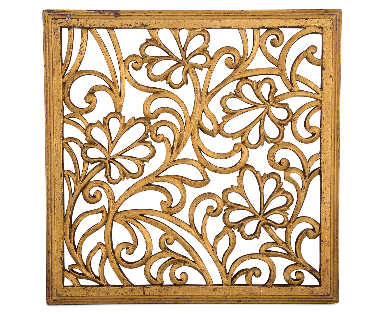 Brushed Gold Wall Decor : Catch elemental gold brushed wood carved wall art