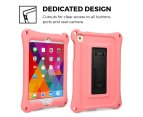Apple iPad Mini 1 2 3 4 case, COOPER BOUNCE STRAP Shoulder Strap Heavy Duty Work Rugged Tough Protective Drop Shock Proof Rubber Bumper Silicon Carry Kids Toy Holder Cover Bag with Stand (Pink) 4