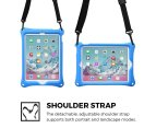 Apple iPad 9.7 2017 / iPad Air 1 case, COOPER BOUNCE STRAP Shoulder Strap Heavy Duty Work Rugged Tough Protective Drop Shock Proof Rubber Bumper Silicon Carry Kids Holder Cover Bag with Stand (Blue) 2