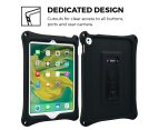 Apple iPad 9.7 2017 / iPad Air 1 case, COOPER BOUNCE STRAP Shoulder Strap Heavy Duty Work Rugged Tough Protective Drop Shock Proof Rubber Bumper Silicon Carry Kids Holder Cover Bag with Stand (Black) 4