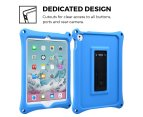 Apple iPad 9.7 2017 / iPad Air 1 case, COOPER BOUNCE STRAP Shoulder Strap Heavy Duty Work Rugged Tough Protective Drop Shock Proof Rubber Bumper Silicon Carry Kids Holder Cover Bag with Stand (Blue) 4