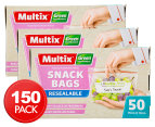 3 x Multix Green Degradable Resealable Snack Bags 50pk 1