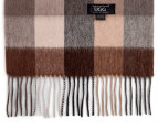 OZWEAR Connection Ugg 100% Merino Wool Scarf - Check Brown/Cream 2