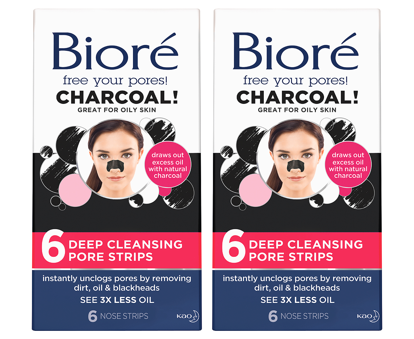 2 x Bioré Charcoal Deep Cleansing Pore Strips 6pk