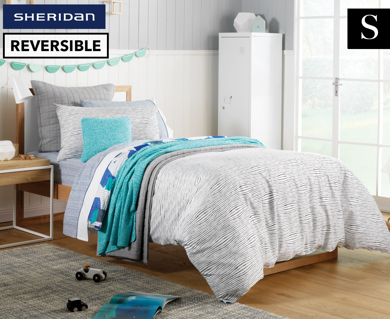 Sheridan Altair Reversible Single Bed Quilt Cover Set - Electric Blue