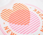 Just Add Sugar Girls' NY Heart Tee - White/Coral 4