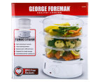George Foreman 3-Tier Food Steamer - White/Clear 5