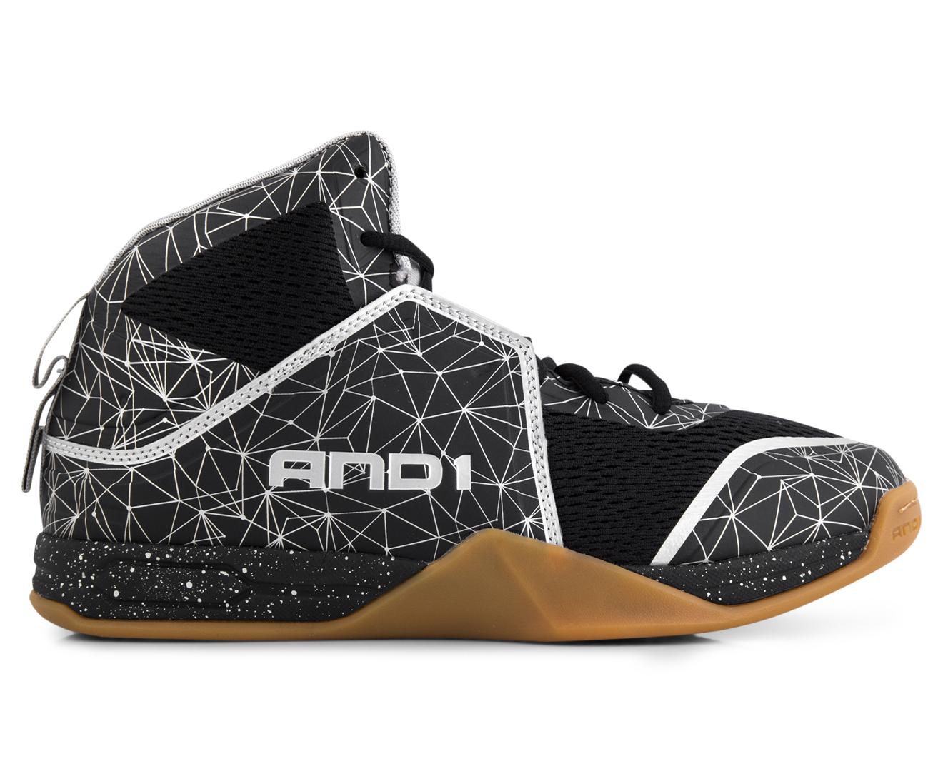 And Men S Havok Mid Basketball Shoe Black Silver Gum