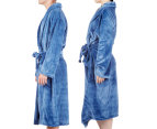 Morrissey Unisex Microplush Bath Robe Bathrobe- River Blue 4