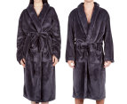 Morrissey Unisex Microplush Bath Robe Bathrobe- Dark Coal 2