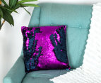 Vistara Sequin Cushion - Navy Blue/Violet 2