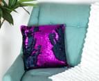 Vistara Sequin Cushion - Navy Blue/Violet 2