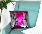Vistara Sequin Cushion - Fuchsia/Silver 2