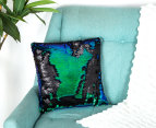 Vistara Sequin Cushion - Mermaid/Black 2