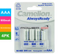 Camelion Always Ready Rechargeable 800mAh AAA Battery 4-Pack 1