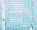 Baby Girls' Carly Rose Striped Cardigan - Aruba Blue 3