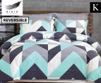 Gioia Casa Modern City King Bed Quilt Cover Set - Grey/Mint 1