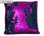 Vistara Sequin Cushion - Navy Blue/Violet 1