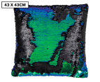 Vistara Sequin Cushion - Mermaid/Black 1