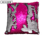 Vistara Sequin Cushion - Fuchsia/Silver 1