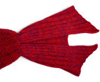 Knitted Adult 90x180cm Mermaid Tail Throw - Rose Red 6