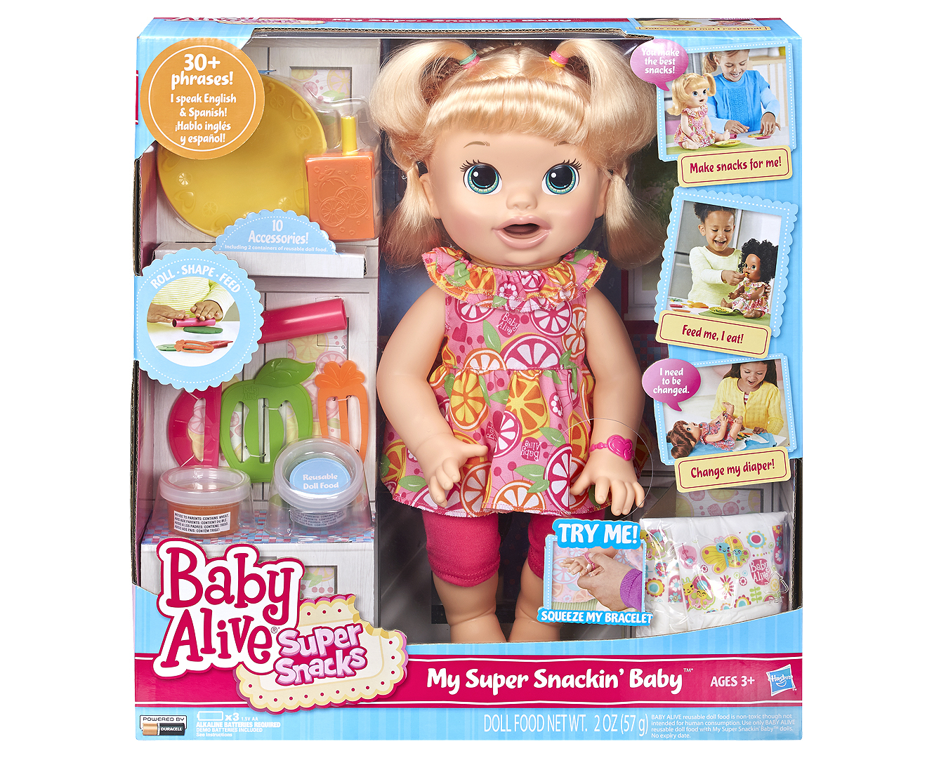 Baby Alive Super Snacks Snackin/' Sara Doll pants. pack diapers,food /& dress