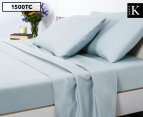 Luxury Living 1500TC Mega King Bed Sheet Set - Pastel Blue  1