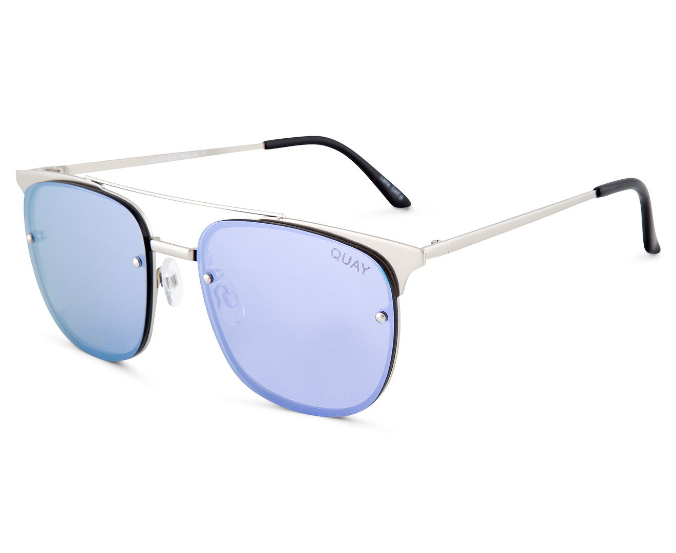 QUAY AUSTRALIA Private Eyes Women Sunglasses Silver w// Purple Lens Size CAT.3