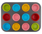 Gourmet Kitchen 12 cup Non-Stick Muffin Pan with Silicone inserts 2