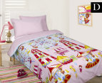 Happy Kids Fun At Fair Glow In The Dark Double Bed Quilt Cover Set - Pink/Multi 1