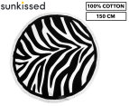 Round Zebra 150cm Premium 100% Cotton Beach Towel - Black/White 1