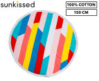 Round Broken Stripes 150cm Premium 100% Cotton Beach Towel - Multi 1