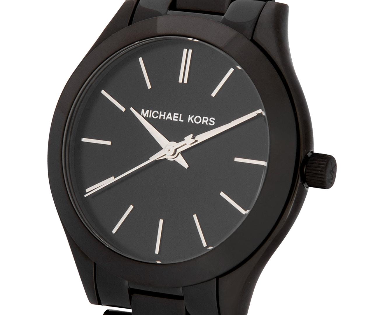 b119f76f9efb Michael Kors Women s 34mm Mini Slim Runway Stainless Steel Watch - Black