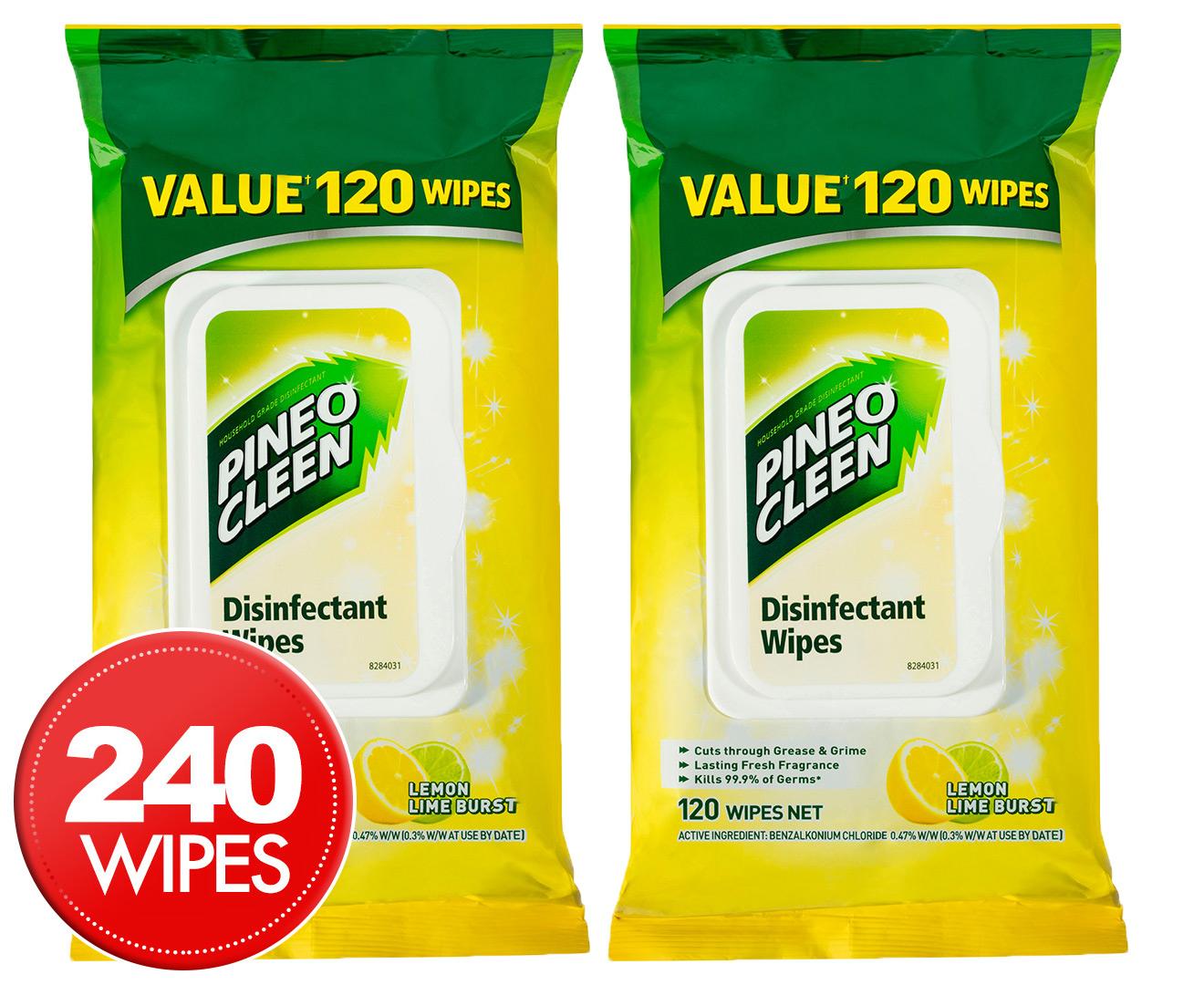 2 X Pine O Cleen Disinfectant Wipes Lemon Lime Burst 120pk