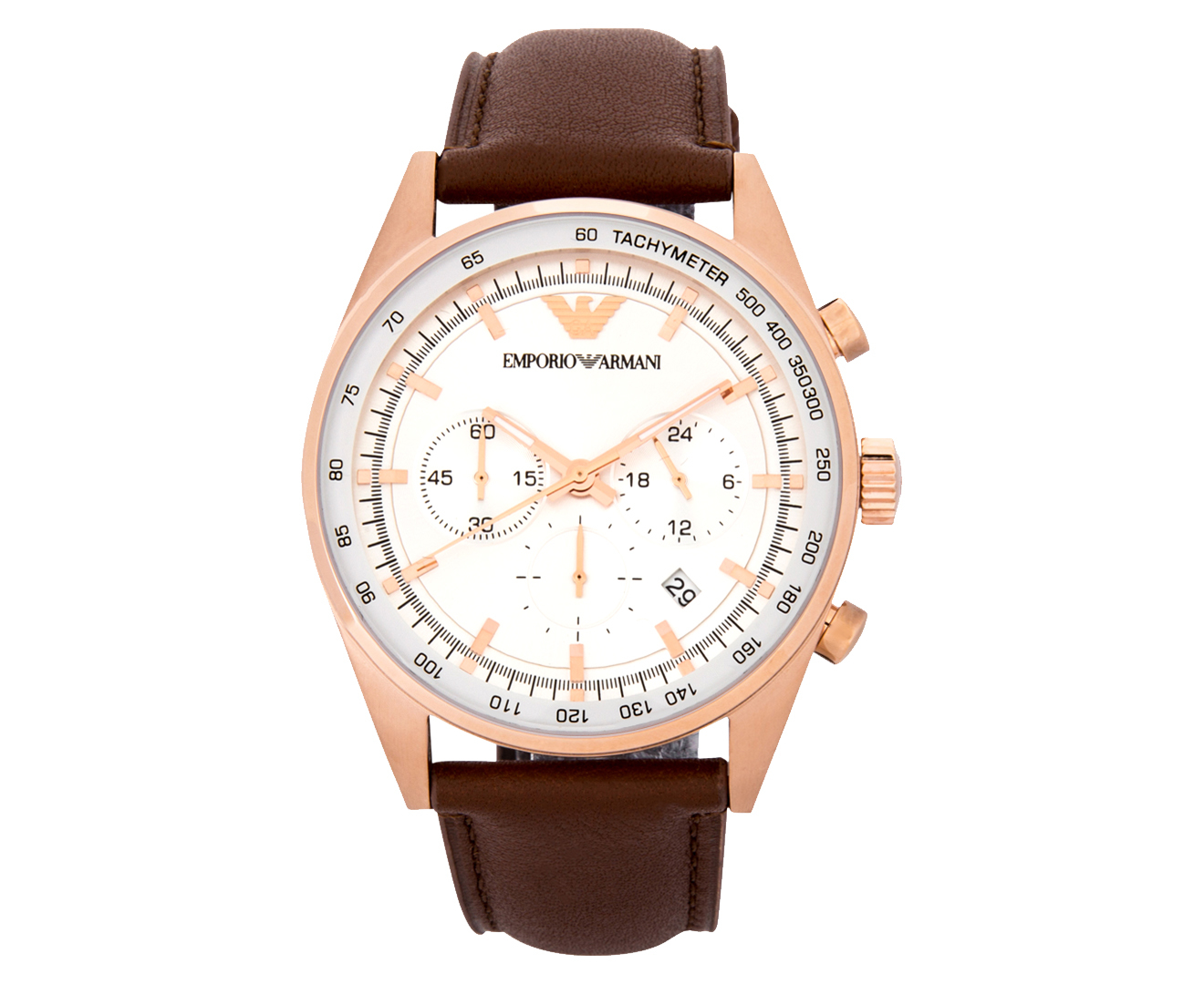 785a077c554 Image is loading Emporio-Armani-Men-039-s-43mm-AR5995-Leather-. NEW Emporio  Armani Womens Rose Gold Tone Brown Saffiano Leather Strap Watch
