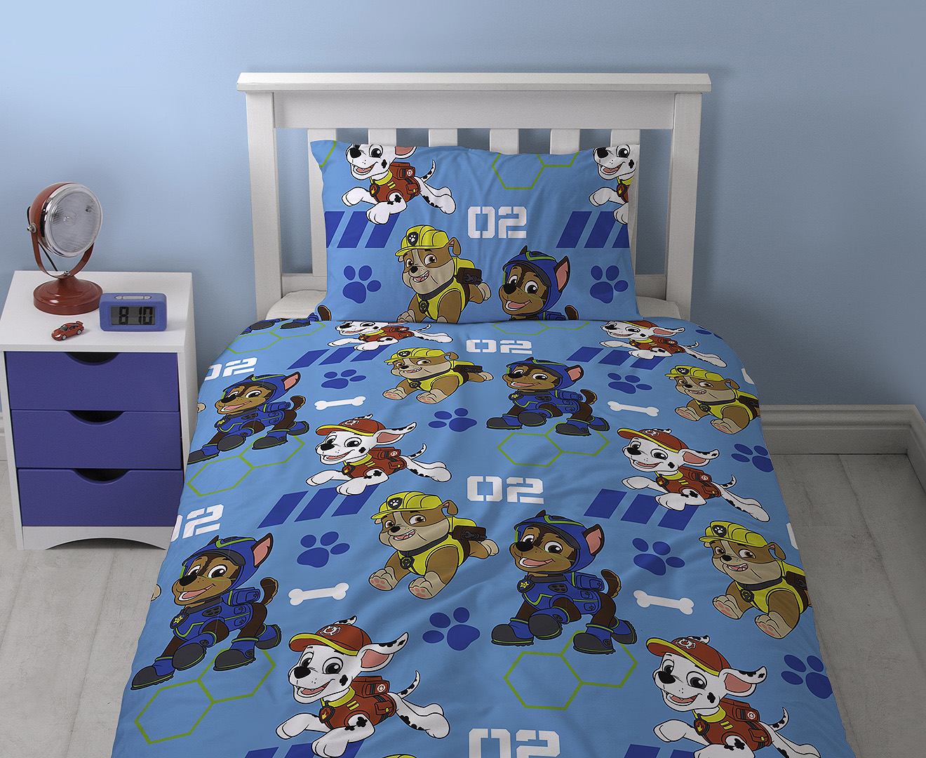 Paw Patrol Reversible Single Bed Quilt Cover Set - Blue/Multi