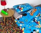 Disney Mickey Mouse Reversible Single Bed Quilt Cover Set - Multi 2