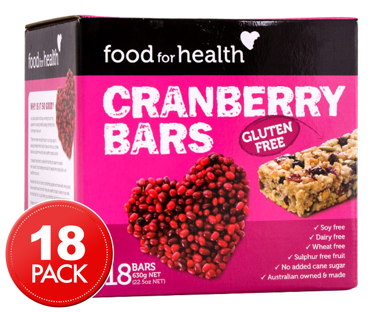 Food for health gluten free bars cranberry 630g 18pk for Food bar health