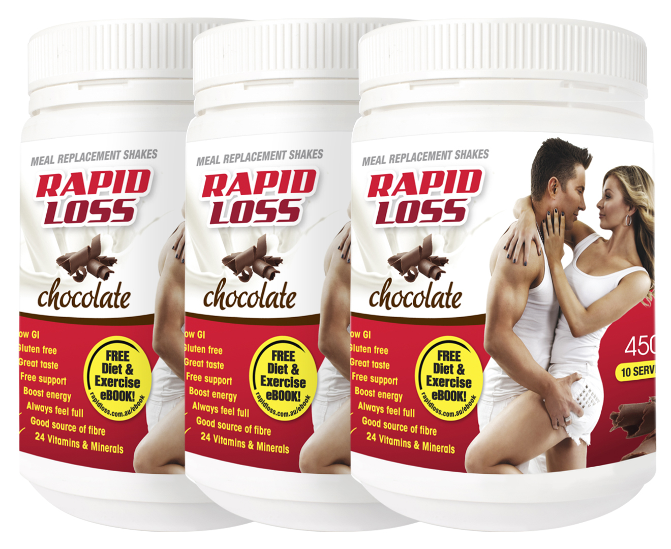 3 x Rapid Loss Meal Replacement Shake Chocolate 450g ...