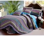 Luxury Quilted 100% Cotton Coverlet / Bedspread Set  King Size Bed 230x250cm Blue & Purple 1