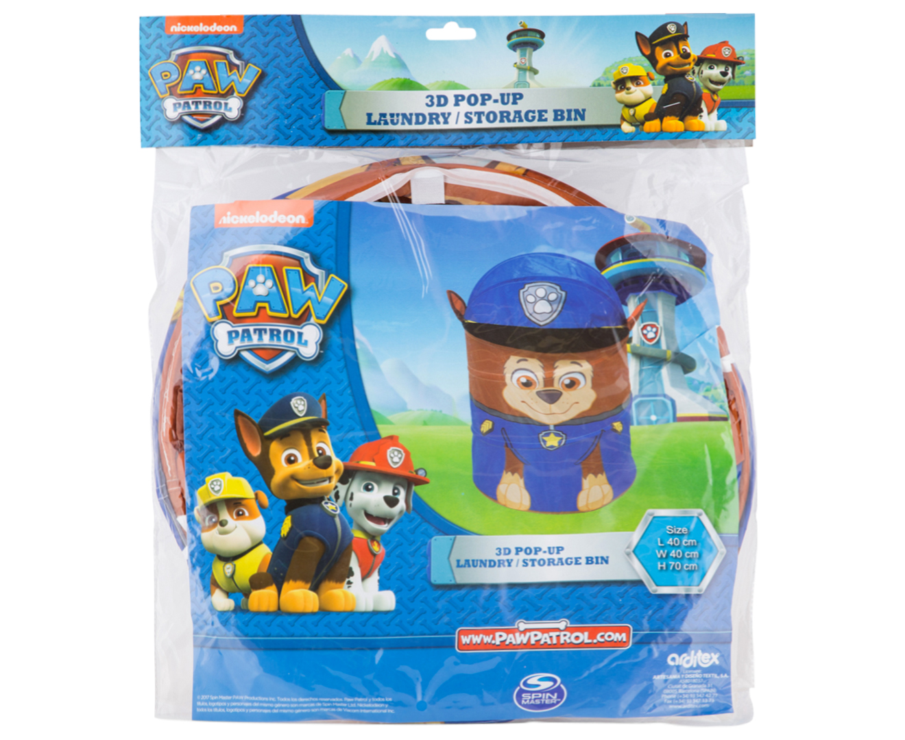 Paw Patrol Toy Organizer Bin Cubby Kids Child Storage Box: Paw Patrol 3D Chase Pop-Up Laundry/Storage Bin