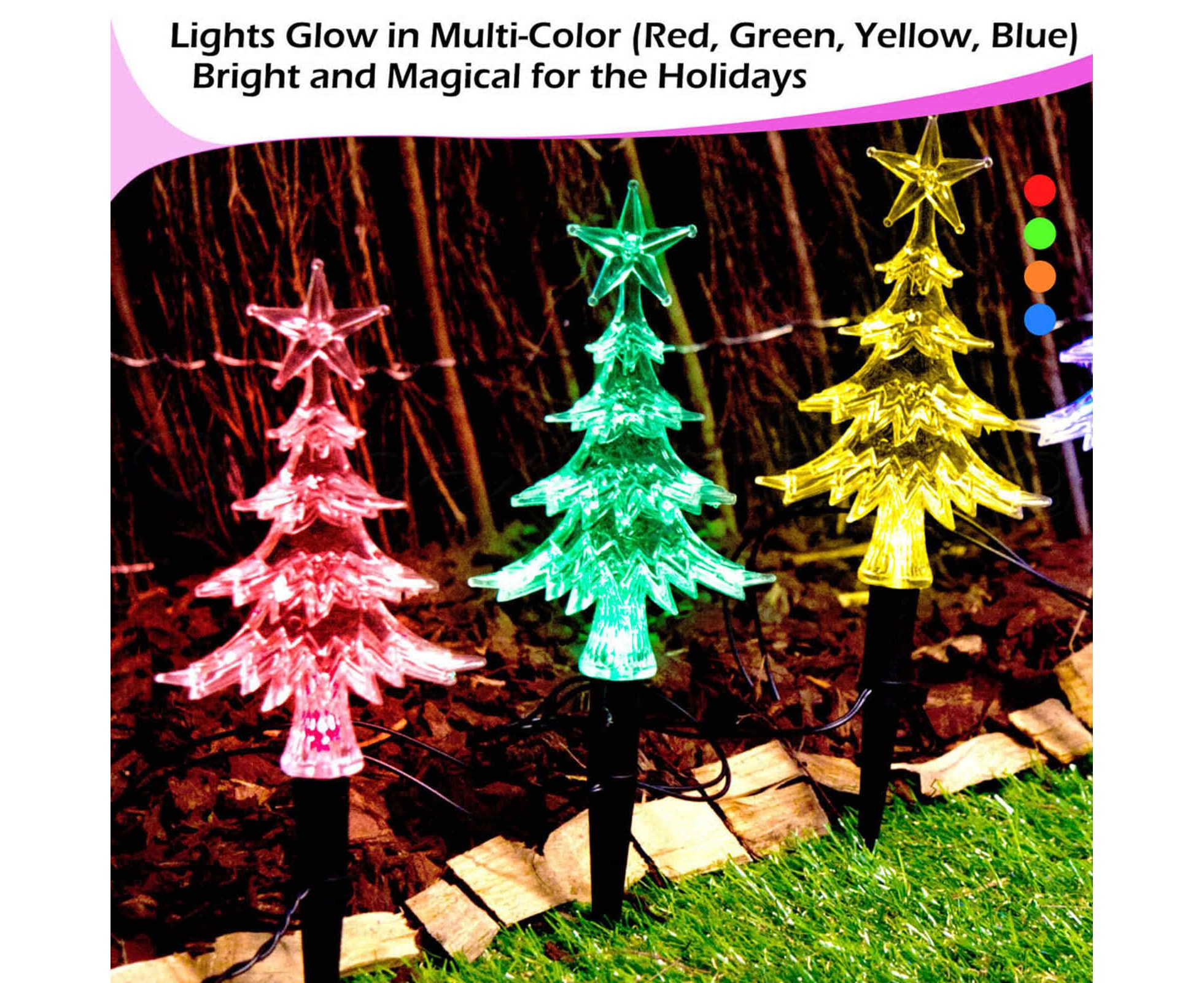 20pc Solar Christmas Lights Led Mini Path Trees Multi