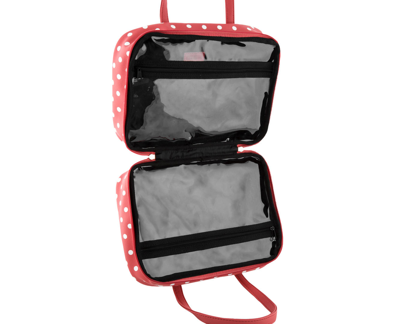 Clear makeup bag with compartments