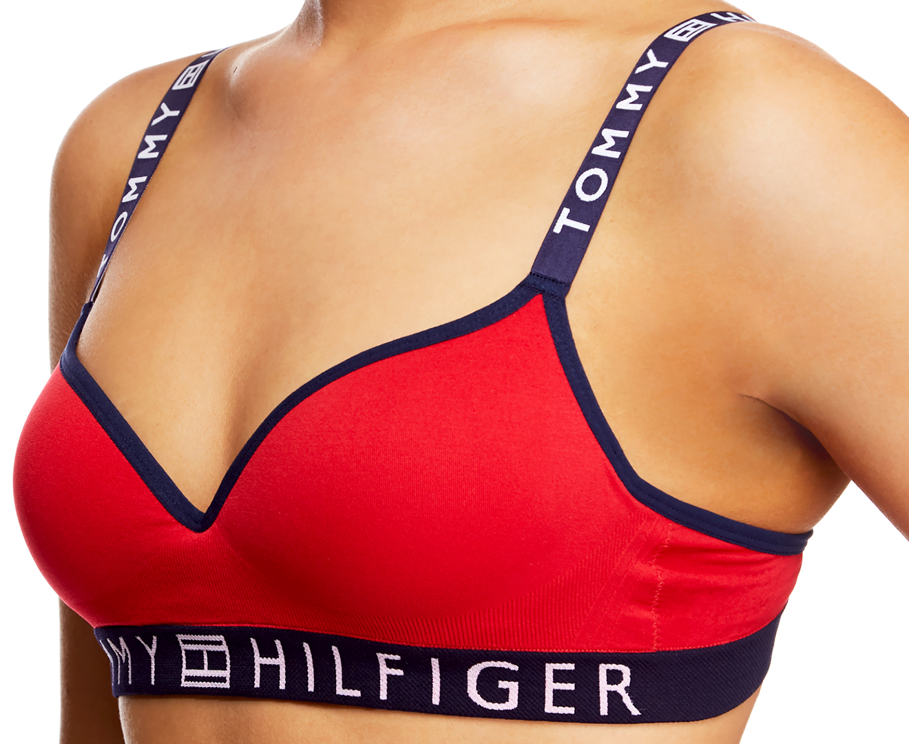 tommy hilfiger women 39 s seamless logo padded bra tang red scoopon shopping. Black Bedroom Furniture Sets. Home Design Ideas
