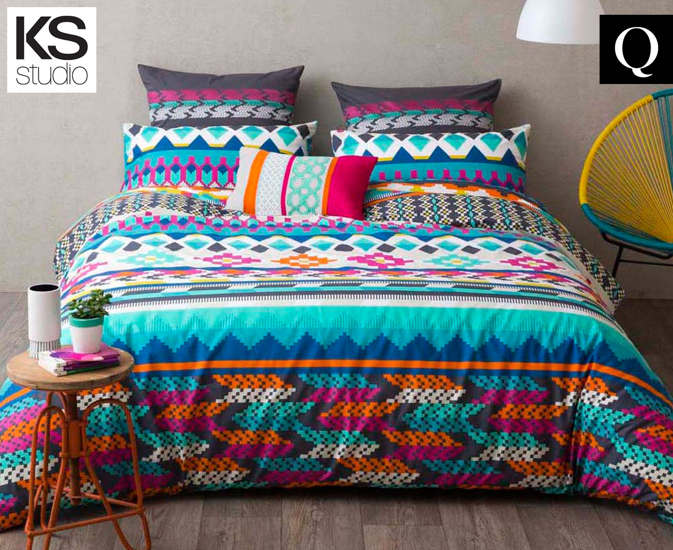 Ks studio qualia reversible queen bed quilt cover set for Studio one bed cover