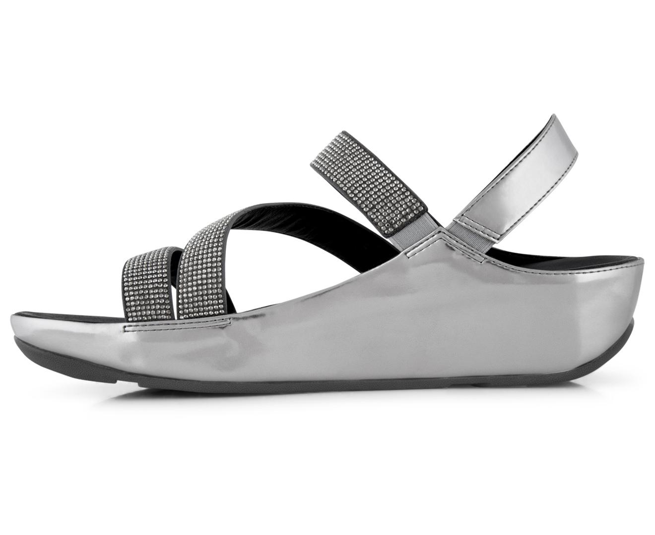 6202e424b1e9c FitFlop Women s Crystall Z-Strap Sandal - Pewter